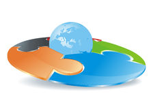 Abstract round puzzle field with globe Stock Photo