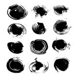 Abstract round spots of black paint and ink Stock Images