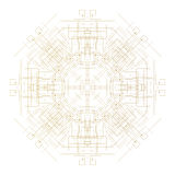 Abstract round technology pattern isolated on white background, golden mandala template with connecting lines and dots Stock Images