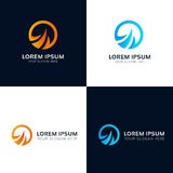 Abstract round water and fire logo sign vector design Stock Images