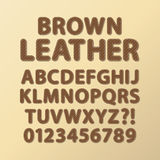 Abstract Rounded Brown Leather Font and Numbers Stock Image
