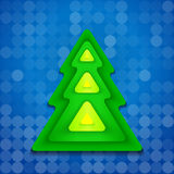 Abstract rounded green christmas tree on blue Stock Photography