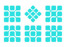 Abstract rounded rectangle vector logo set Royalty Free Stock Photography