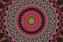abstract roze met groen ornament (mandala, caleidoscoop) Royalty-vrije Stock Afbeeldingen