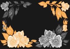 Abstract rozenkader stock illustratie