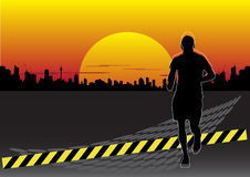 Abstract running man. On city background Stock Photos