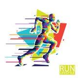 Abstract running man. Style wpap. Vector illustration. stock photo