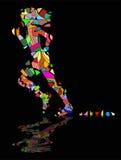 Abstract runs. Mosaic that is broken of girl who runs Royalty Free Stock Image