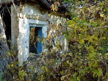 Abstract rural forgotten destroyed house wallpaper background Stock Photography