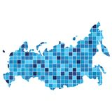Abstract Russia map consists of squares of different shades of b. Lue Royalty Free Stock Image