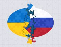 Abstract Russian and Ukrainian flags puzzle concept royalty free illustration