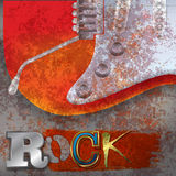 Abstract rusty background with electric guitar Stock Photos