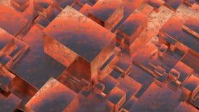 Abstract rusty metallic cubes. Grunge background. 3D illustration. Stock Photo