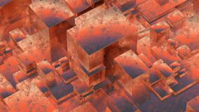 Abstract rusty metallic cubes. Grunge background. 3D illustration. Abstract rusty metallic cubes. Grunge background Stock Images
