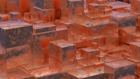 Abstract rusty metallic cubes. Grunge background. 3D illustration. Stock Images