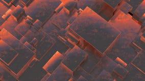 Abstract rusty metallic cubes. Grunge background. 3D illustration. Stock Photos