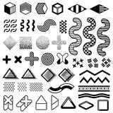 Abstract 1980s fashion vector elements for memphis design. Modern graphic shapes for trendy patterns. Trendy geometric hipster simple elements illustration Royalty Free Stock Images