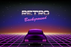 Abstract 80s retro background with car. Vector illustration stock illustration