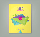 Abstract 80's style triangle geometric shapes design background. For business annual report book cover brochure flyer poster Stock Photography