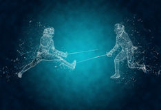 Abstract sabre fencers. In action. Crystal ice effect Royalty Free Stock Images