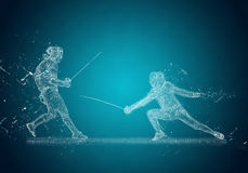 Abstract Sabre Fencers. Crystal ice effect Royalty Free Stock Photos