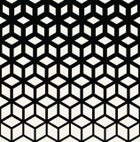 Abstract sacred geometry black and white grid halftone cubes pattern. Background Stock Photography