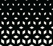 Abstract sacred geometry black and white grid halftone cubes pattern. Background stock illustration