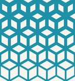 Abstract geometric pattern. Abstract sacred geometry blue grid halftone cubes pattern royalty free illustration