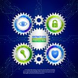 Global network security on the circuit blue background. Digital Royalty Free Stock Images