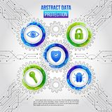 Abstract safety mechanism which is made of gears, icons key, shi. Eld, hacker bug, eye and padlock. Global network security on the circuit grey background Stock Photos