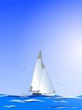 Abstract sailboat,seagull and sea.Vector Stock Photo