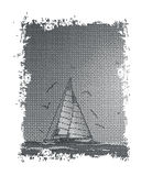 Abstract sailboat,seagull and sea.Vector.Suitable as label on a Stock Photos