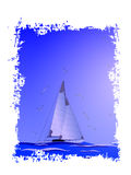 Abstract sailboat,seagull and sea.Vector.Suitable as label on a Royalty Free Stock Images