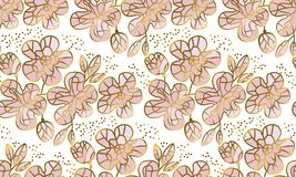 Abstract sakura blossom vector illustration. Floral seamless pattern in luxury mosaic jewelry style with gold and pale rose colors. Spring flowers decorative royalty free illustration