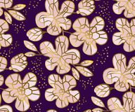 Abstract sakura blossom vector illustration. Floral seamless pattern in luxury mosaic jewelry style with gold and pale rose colors. Spring flowers decorative Royalty Free Stock Image