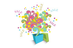 Abstract sale box. Sale box with colorful elements shooting out Royalty Free Stock Photo