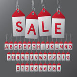Abstract Sale Tag Font and Numbers. Eps 10 Vector Royalty Free Stock Photo