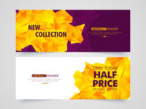 Abstract Sale web header or banner set. Creative abstract design decorated Sale website header or banner set with special discount offer Stock Images