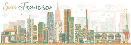 Abstract San Francisco Skyline met Kleurengebouwen Royalty-vrije Stock Afbeeldingen