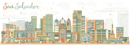Abstract San Salvador Skyline with Color Buildings. Vector Illustration. Business Travel and Tourism Concept with Modern Architecture. Image for Presentation Royalty Free Stock Image