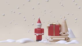 abstract santa claus and gift box sled winter snow new year concept cartoon style wood toy minimal cream background 3d render royalty free illustration