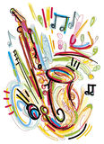 Abstract Saxophone Sketch Stock Images