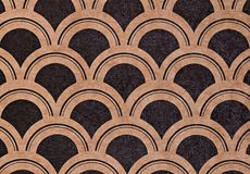 Abstract scales art deco seamless pattern cardboard. Art deco geometric pattern in brown and black color on paper. Seamless texture for print, gift wrapping Stock Photography