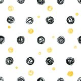 Abstract scandinavian pattern with black and yellow polka dot ci. Abstract seamless scandinavian pattern. Hand drawn watercolor background with black and yellow Stock Photo