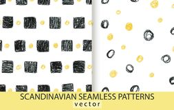 Abstract scandinavian patterns set. Pencils drawn background stock illustration
