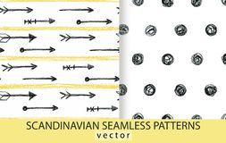 Abstract scandinavian patterns set. Pencils drawn background royalty free illustration