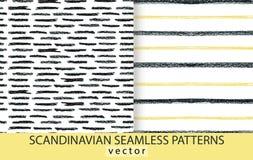 Abstract scandinavian patterns set. Pencils drawn background vector illustration