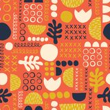 Abstract Scandinavian style floral feminine summer background. Seamless vector pattern. royalty free illustration