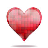 Abstract scarlet mosaic 3D heart icon Stock Images