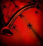 Abstract scary background. Red abstract scary background, Halloween greeting card, clothes part of vampire, many eerie spiders, holiday of horror concept Stock Photos